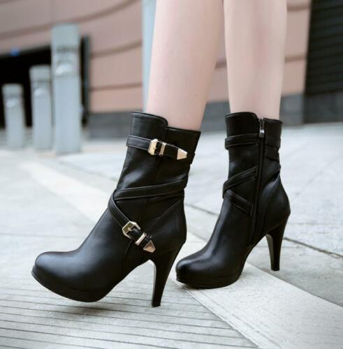 womens Lady buckle strap ankle boots side zip platform high heel shoes riding