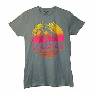 33f45b430 MENS BOYS RETRO HAWAII GREY T-SHIRT HOLIDAY GYM CASUAL GIFT SZ S ...