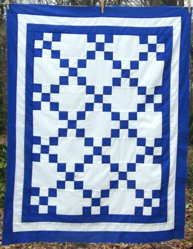 50x40 Blue White Wheelchair Lap 100% COTTON BOYS Single Irish Chain Quilt Top