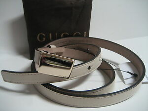 3ec84a41a $265 NEW GUCCI Womens 34 IN 85 CM Skinny Cream Leather Belt Logo ...