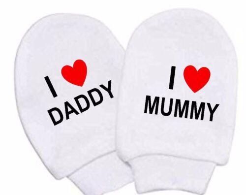 Baby Mädchen Junge Weiß Baumwolle Ich Liebe Mutti Daddy Kratzen Handschuhe