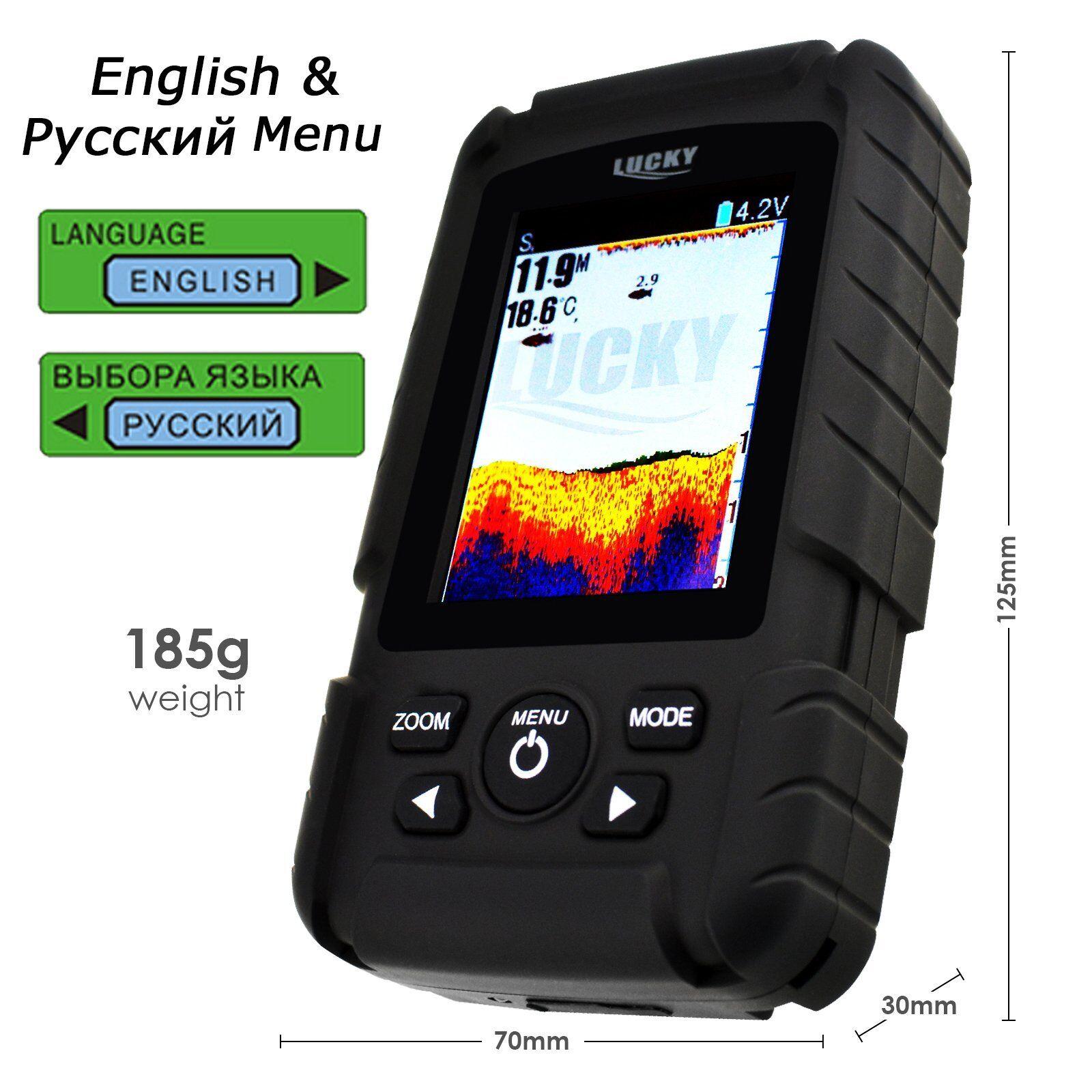 100% Impermeable Pescado Finder Inalámbrico/ 6M Cable Sensor Inglés/ Ruso Menú Menú Ruso 7f1265