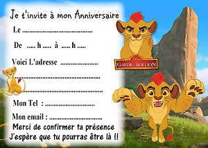 Détails Sur 5 Cartes Invitations Anniversaire La Garde Du Roi Lion 02