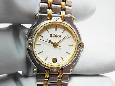 gucci 9000l. gucci 9000l two-tone ladies auth swiss quartz date watch (3000 9000l r