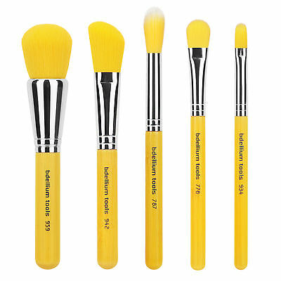 Bdellium Tools Makeup Beauty Brush Yellow Bambu Series Mineral 5pc. Brush Set