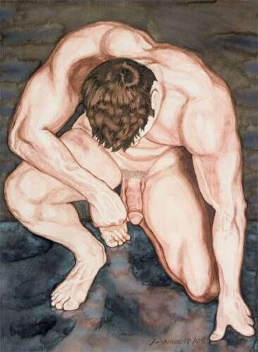 watercolor print nude male or muscle man gay interest Oh boy homme nu