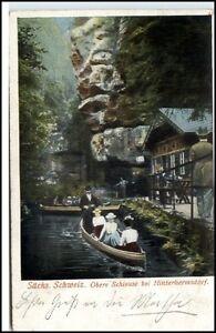 Hinterhermsdorf Postkarte ~1910/20 Partie an der oberen Schleuse Boote Personen