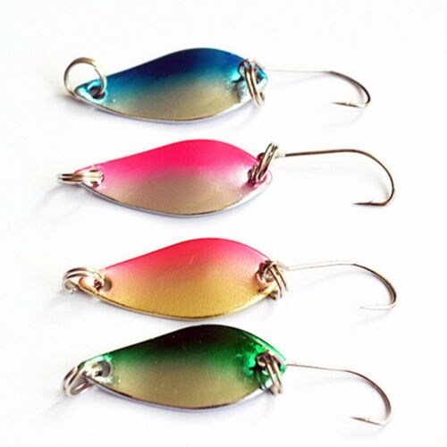4PCS Colorful Fishing Spoon Trout Lure Spinnerbaits Spinner Hard Bait Hook