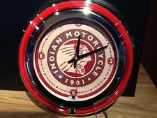 *NEW* Indian Chief Motorcycle Neon Light Up Bar Clock 19 inch Round Wall Mount