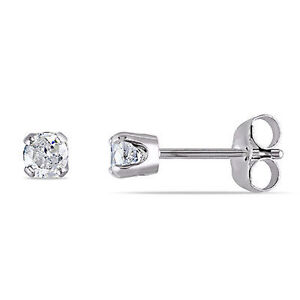 98241f806 14k White Gold 1/3 Ct TDW Diamond Solitaire Stud Earrings Butterfly ...