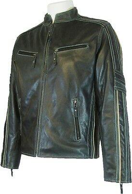 Mens Black Biker Style 100%  Real Grained Leather Jacket   'All Sizes' #S6