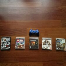 Five Play Station Games and a Barely Used Sixaxis Dualshock 3 Controller