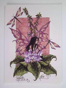 Amy Brown New Mint Fairy Postcardmini Art Print Pink Foxglove