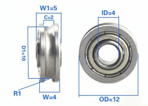 4x12x4mm U Groove Track Roller Bearing with extended width of 5mm