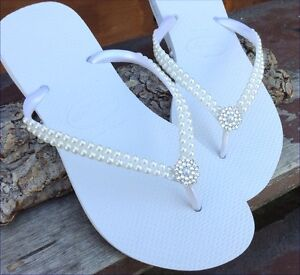 9fa7fa450d5 Wedding Havaianas Slim Pearl Bridal Shoes w  Swarovski Crystal Bling ...