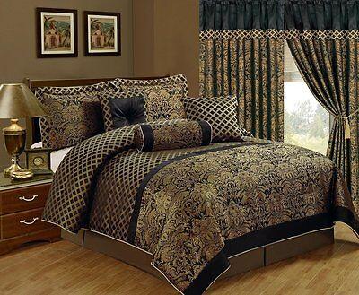 Luxury Jacquard Print 7 Piece Floral Comforter Set Black Gold New