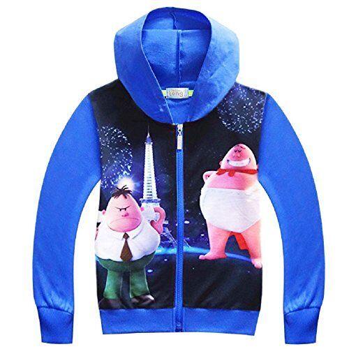 US STOCK Boys Captain Underpants Zipper Hoodie Sweater Jacket K92