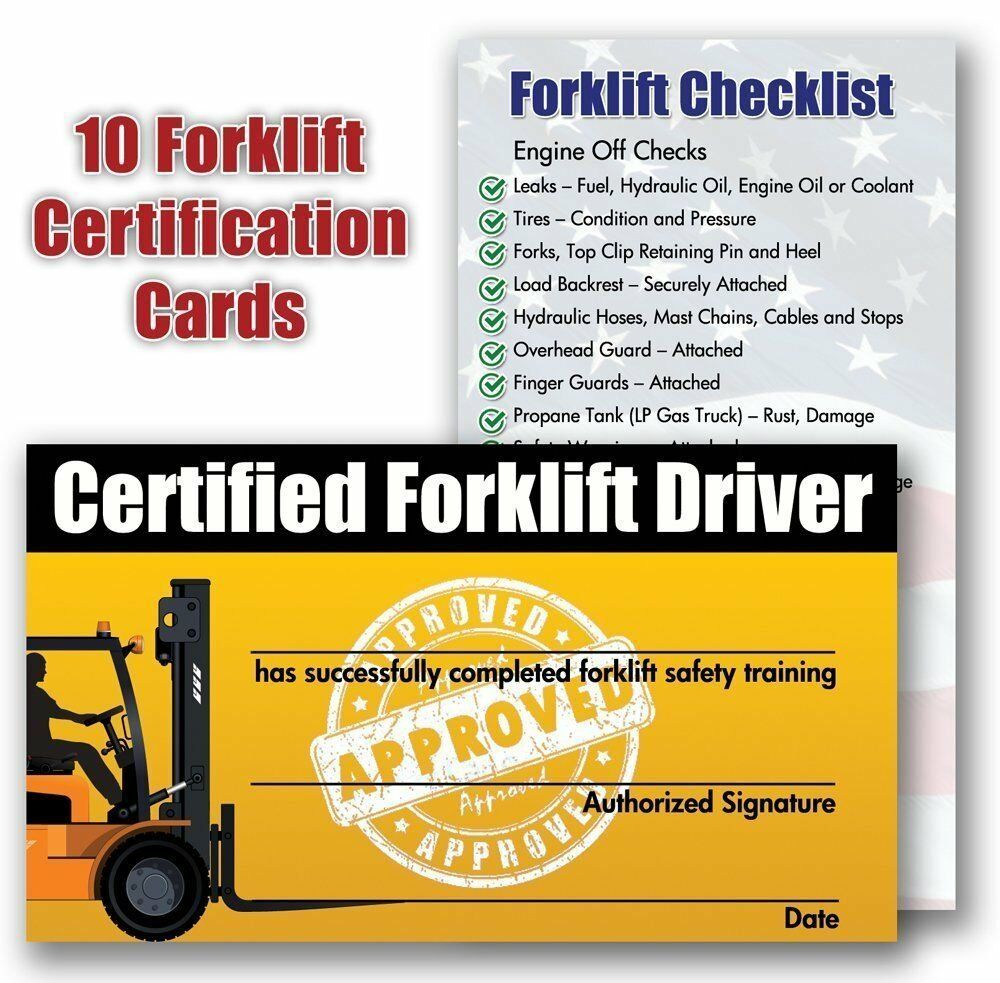 Forklift Certification Training Cards Package Of 10 Ebay