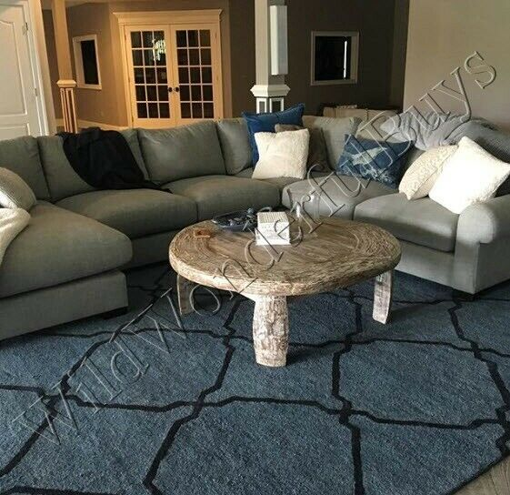 Pottery Barn Tonal Tile Rug Blue Indigo 3x5 Tufted Wool Authentic Ebay
