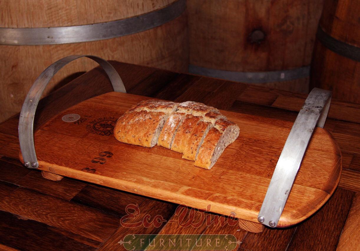 Tonneau de vin Serving Plateau en acier inoxydable poignées.