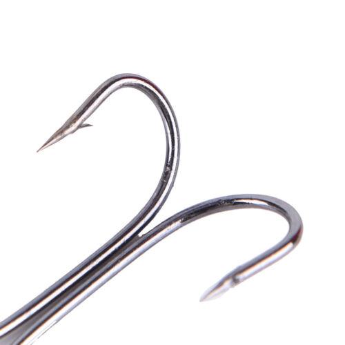 50x double en acier au carbone noir crochets de pêche double ancre eau salée