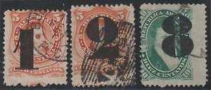 """Argentina 1877 Provisionals Sc 30-32 Full Set """"buenos Aires"""" Pmks Scv$140 """"om"""""""