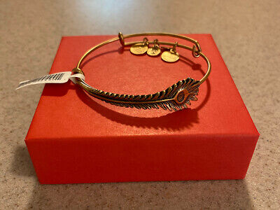 NEW ALEX AND ANI PEACOCK FEATHER WRAP CHARM BANGLE WITH GOLD FINISH 166