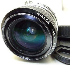 Nikon-28mm-f2-8-Ai-Nikkor-Lens-manual-focus-for-FE-FM-2n-cameras-SCRACTHED