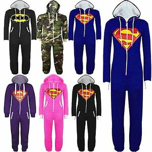 New-Mens-Womens-Unisex-Batman-Superman-Hooded-Zip-Jumpsuit-Onesie-Size-S-M-LXL
