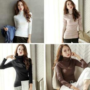 Fashion-Women-TURTLENECK-Tops-Cotton-Blouse-T-shirt-Long-Sleeve-Slim-Jumper-P9J7