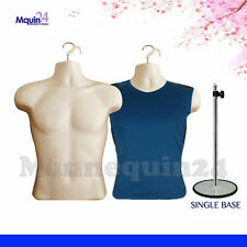 2 Torso Mannequin Body Forms Flesh Male1 Stand 2 Hangers Man Clothing Display