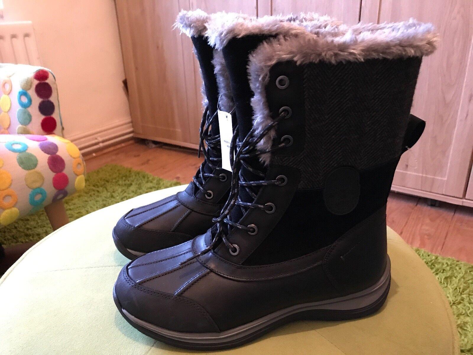 Lands 'End Mujer Cuero Thermolite avalancha botas De Nieve-UK Talla 6.5