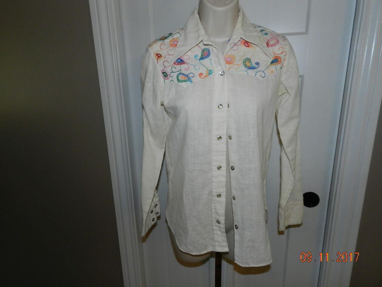 Wrangler VTG Western IVORY Shirt Woherren Größe 30 USA Made Embroidery Pearl snap