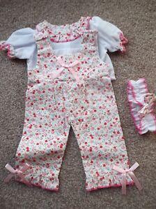 f2fe8e82e64 Das Bild wird geladen Puppen-pink-rot-Blumen-Overall-fuer-38-1cm-
