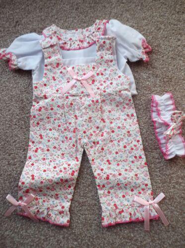 Babypuppen & Zubehör Puppen pink/rot Blumen Overall für 38.1cm Puppe Code bb-116 Kleidung & Accessoires