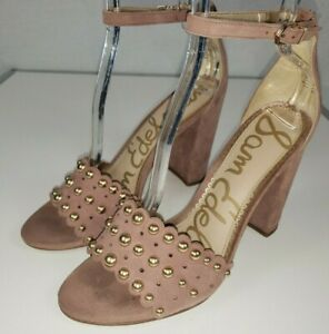 Sam-Edelman-Yaria-Dusty-Rose-Suede-Studded-Ankle-Strap-Sandal-Size-9M