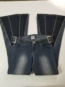 Z-Cavaricci-NWOT-Womens-Size-0-Dark-Wash-Crazy-Flare-Embellished-Jeans-28-x-29