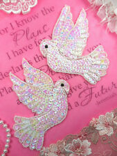 Mirror Pair White Dove Sequin Appliques Beaded Sewing Crafts Motif Patch (XR244)