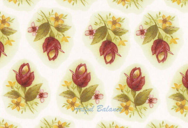 Ceramic Decals Single Rose Bud Yellow/Purple Flower Bit