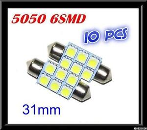 10-x-CAR-12V-LED-31MM-FESTOON-INTERIOR-WHITE-LIGHT-BULB-5050-6SMD-AUTO-DOME