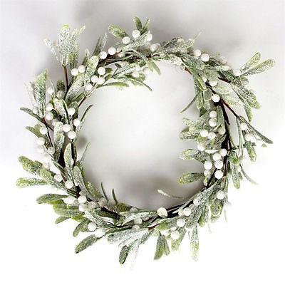 Charming Glittery Silver Artificial Mistletoe Wreath Christmas SALE ... RRP £25