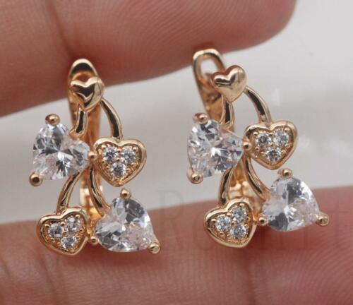 18K Gold filled-Siamois creux Sweet Heart Rond Blanc Zircon Mariage Boucles d/'oreilles