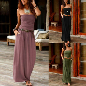 Womens-Bandeau-Holiday-Off-Shoulder-Long-Dress-Ladies-Summer-Solid-Maxi-Dress-UK