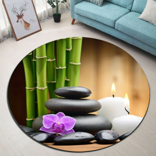 18 Type Spa Zen Stone Bamboo Orchid Round Carpet Floor Mat Living Room Area Rugs