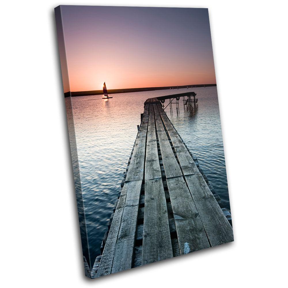 Jetty Lake  Sunset Seascape SINGLE TOILE murale ART Photo Print