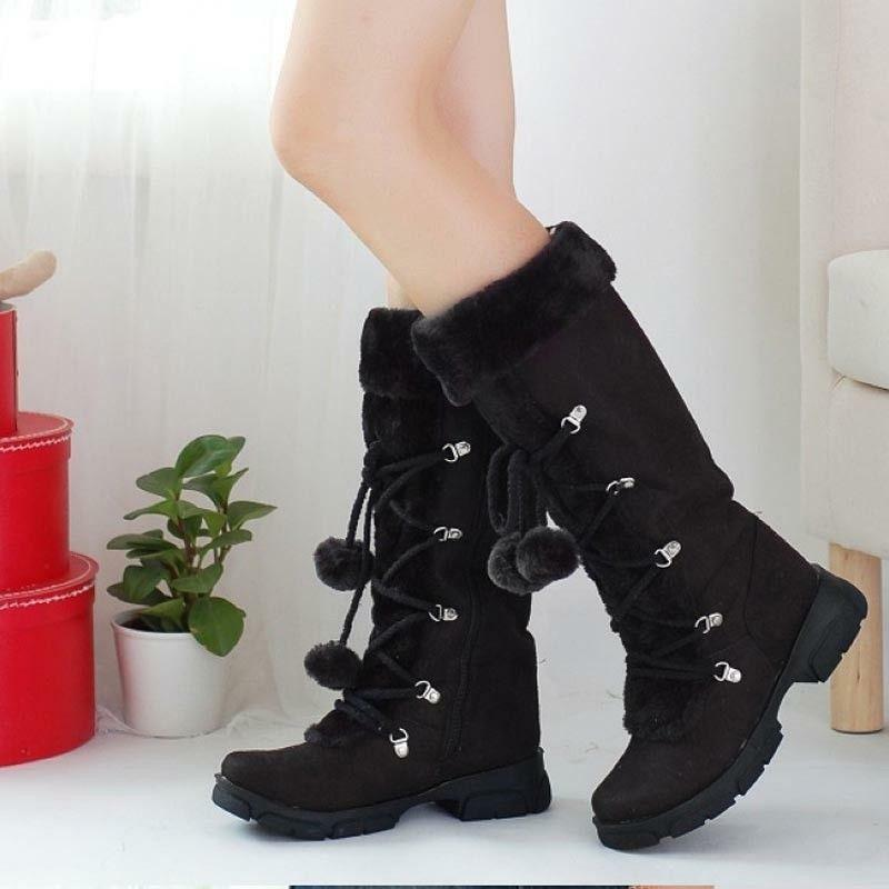 Women Mid Calf Snow Boots Fur Lined Warm Flats Suede Ankle Shoes Plush Round Toe