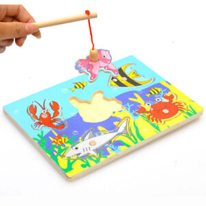 Kids Educational Fishing Puzzles Baby Wooden Magnetic 3D Jigsaw Funny Game Toys