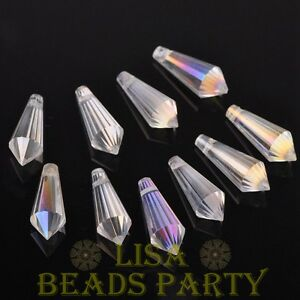 New-10pcs-20x8mm-Chandelier-Faceted-Crystal-Glass-Pendant-Loose-Beads-Clear-AB