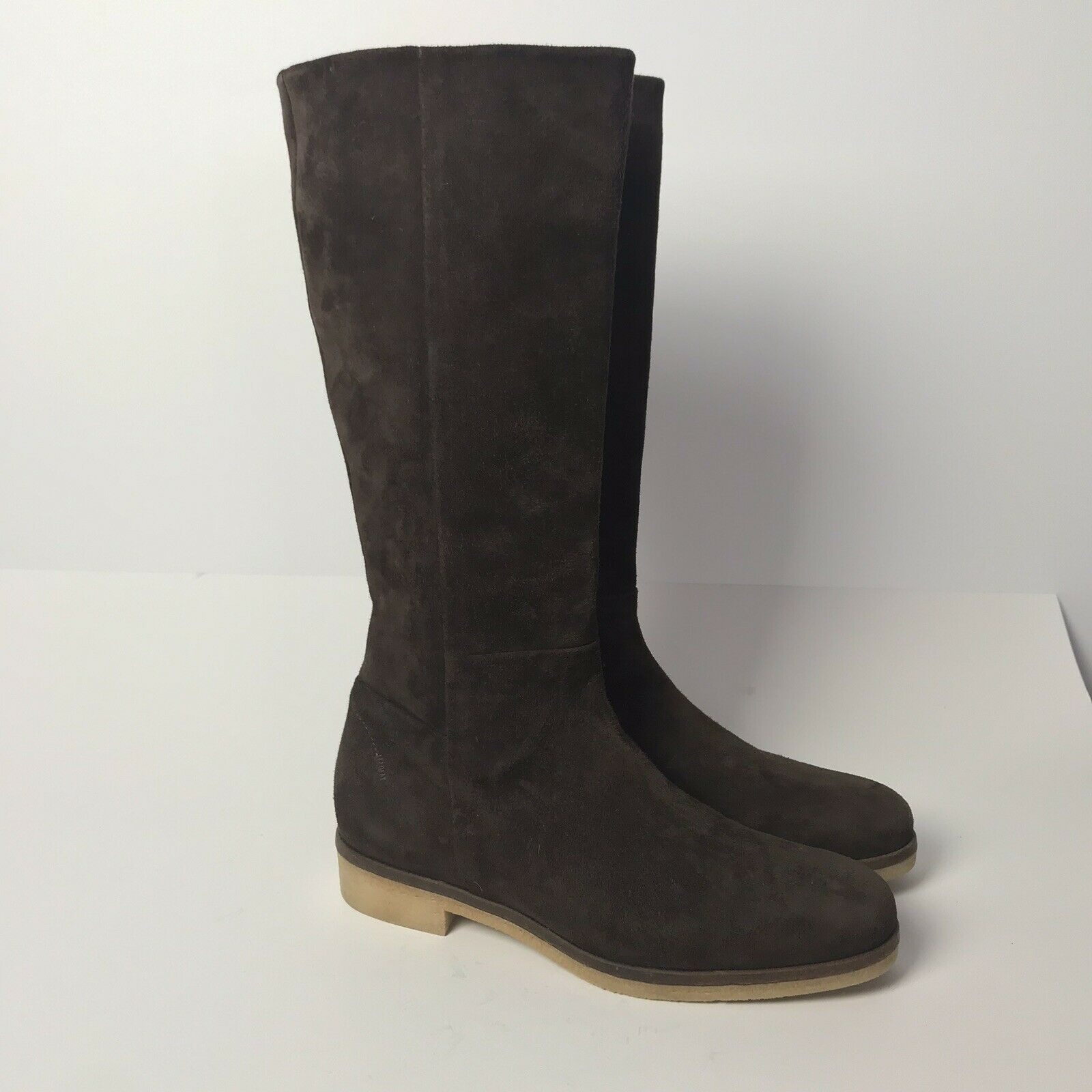 Alberto Fermani Morgana Solid Brown Suede Flat Boots sz 37 Side Zipper