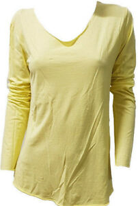 T-shirt-Maglietta-Manica-Lunga-Leggera-Estiva-Donna-POIS-Scollo-Ampio-Gialla-M